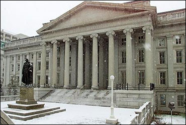 The north side of the US Treasury Building in Washington.