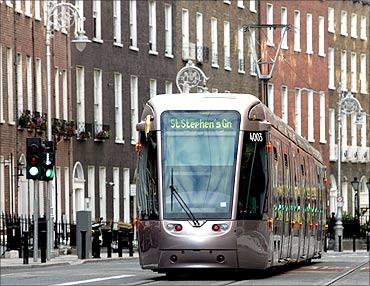 One of many new trams known as the Luas service in South Dublin.
