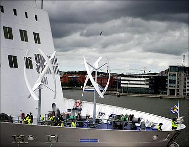 Ferry operator Stena Line's ferry Stena Jutlandica sails in Gothenburg harbour.
