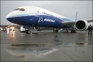 The 787 Dreamliner sits on the tarmac at Boeing Field in Seattle, Washington.