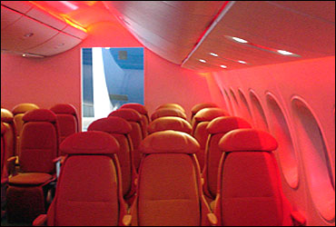 Interior photo showing windows and LED mood lighting options for the 787 Dreamliner.