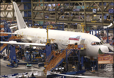 A 787 Dreamliner being manufactured for customer Japan Airlines.
