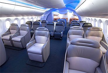 Boeing 787 Dreamliner's new interior.