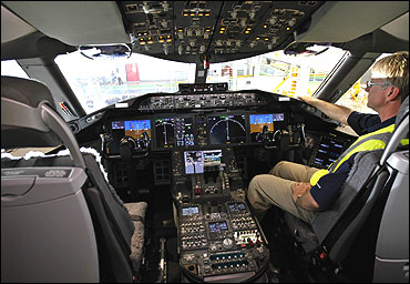 The cockpit of a Boeing 787 Dreamliner.