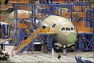 Final assembly of the first Boeing 787 Dreamliner takes place at the company's Everett, Washington plant.