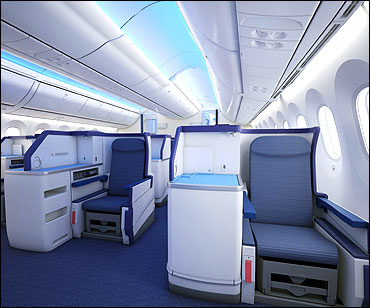 Interior view of Boeing 787 Dreamliner.