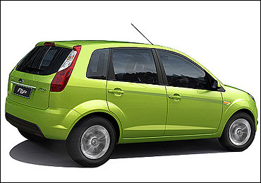 Rear-side view of Ford Figo.