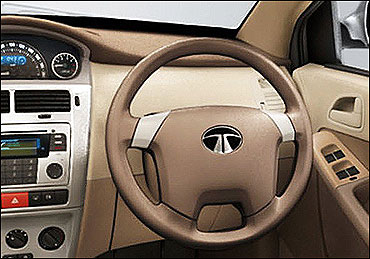 Steering wheel of Tata Vista.