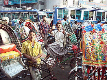 A street in Dhaka, Bangladesh.