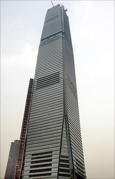 The International Commerce Centre that houses Ritz Carlton.