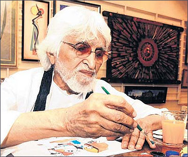 Maqbool Fida Husain at work.