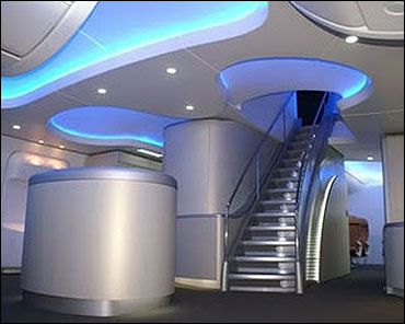 Staircase to the 1st Class cabin in Boeing 787 Dreamliner.