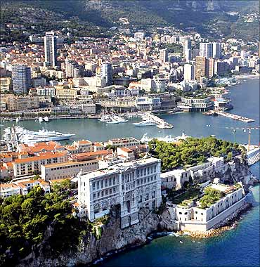 Aerial view of the old La Condamine port of Monaco.