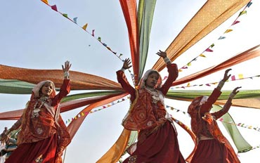Girl perform the Garba during the Navratri celebrations in Ahmedabad, Gujarat.