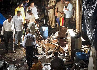 Police use a sniffer dog at the site of an explosion in the Zaveri Bazaar.
