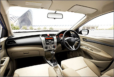 Spacious interior of Honda City.