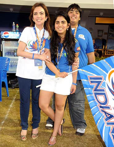 Nita Ambani with daughter Isha and son Aaskah.
