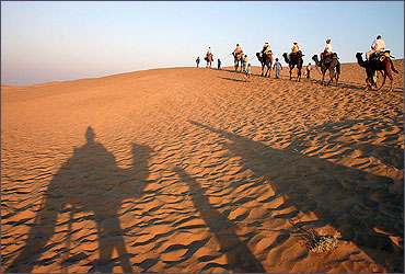 Camel ride in the Thar desert near Jaisalmer.