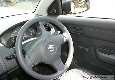 Steering wheel of Maruti Swift.