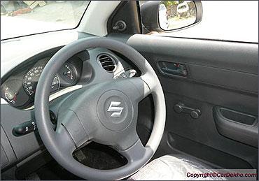 Steering wheel of Maruti Swift.