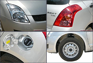 Clockwise from L - R: Head lamps, tail light, wheel, gas cap.