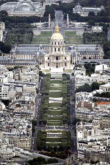 The Hotel des Invalides is seen in an aerial view of Paris.