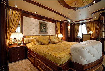 A luxurious stateroom in a yacht.