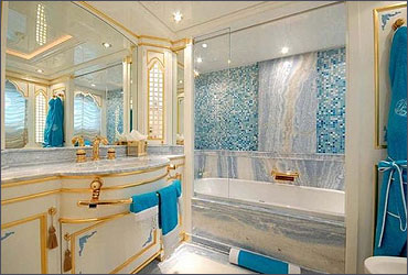 A stunning bathroom in a yacht.