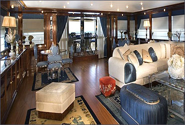 Main lounge of a Ferretti yacht.