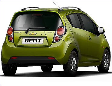 Rear view of Chevrolet Beat.