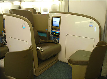 Air New Zealand Business Premier Boeing 777 seat.