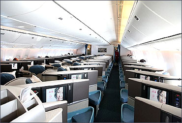 Business Class seats in herring-bone configuration on the 777-300ER.