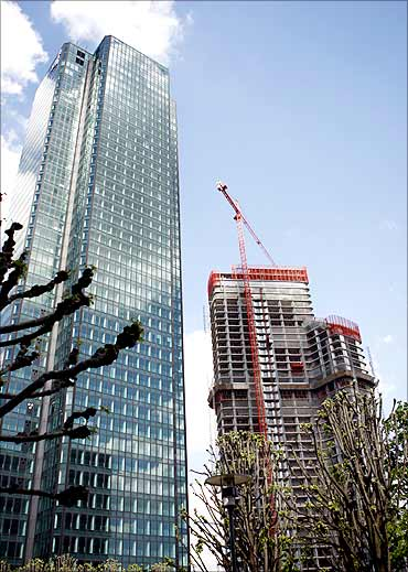 A new skyscraper is being built in the financial district of la Defense near Paris.