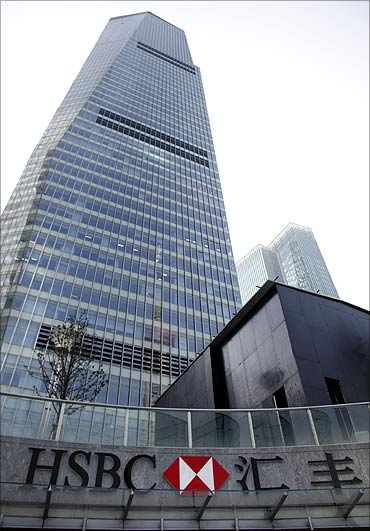 HSBC headquarters building is seen in Pudong financial district in Shanghai.