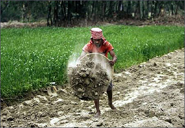A labourer works under NREGA to build a dirt road at Sheikhpur in Bihar.