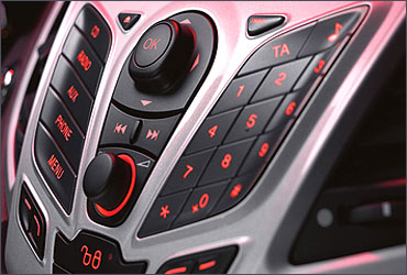 Mobile phone inspired console of the Ford Fiesta.
