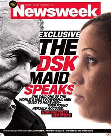 The July 25 Newsweek cover shows Dominique Strauss-Kahn and the alleged victim in the case, Nafissatou Diallo.