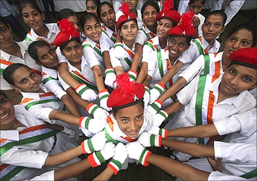 School girls perform during celebrations to mark India's Independence Day.
