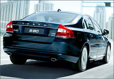 Rear view of Volvo S80.