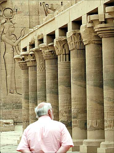 A tourist visits Fiela Temple in Aswan.