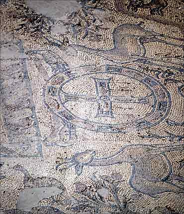 A view of a mosaic on the floor of the Western Church of the Qasr Libya museum complex near Al-Bayda.