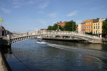Real estate bubble resulted in banking sector collapse. A bridge in Dublin.