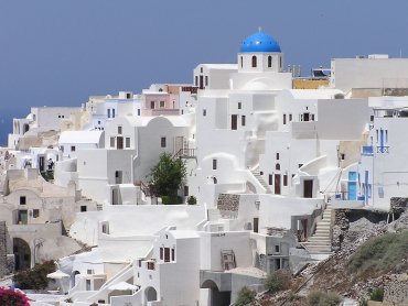 Unemployment rate in Greece is 12.4 per cent. A view of Santorini.