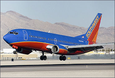 A Southwest Airlines Boeing 737 300 landing at McCarran International Airport.