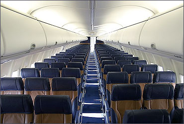 The interior of a Southwest 737 700 with the airline's leather seating.