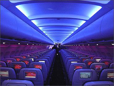 Virgin America mood lighting.