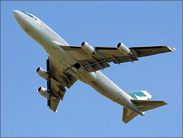 Cathay Pacific Boeing 747-400 takes off.