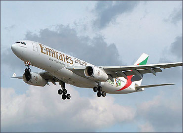 Airbus A330-200 lands at London Heathrow Airport.