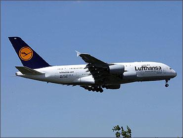 Lufthansa's first Airbus A380 landing at Dusseldorf International Airport.