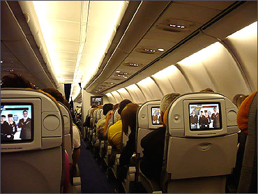 Economy Class aboard a Lufthansa Airbus A340-600.